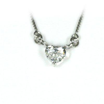 ネックレス メンズ ( 4月誕生石 ) K18ホワイトゴールド ダイヤモンドペンダントネックレス(ハートモチーフ)【楽ギフ_包装】