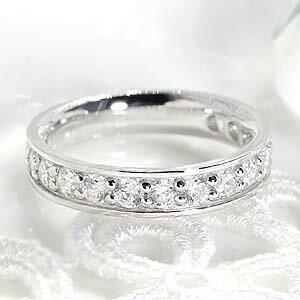 ジュエリー・アクセサリー・レディース・指輪・リング・プラチナ・ダイヤモンド・エタニティ・1カラット・pt950・ハーフエタニティ・フチあり・1.0ct・プレゼント・エンゲージリング・婚約・ブライダル・送料無料・代引手数料無料・品質保証書・刻印無料