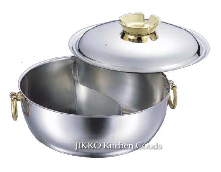 【送料無料】SW電磁用しゃぶしゃぶ鍋 仕切付 30cm〔 真鍮ハンドルツマミ 〕 實光包丁(堺包丁)母の日 ギフト 贈り物 プレゼント ラッピング jk_h