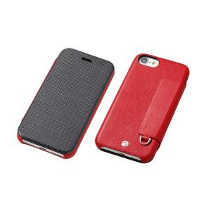 DCS-IP7PRAFCLRD ディーフ iPhone 7 Plus/6s Plus/6 Plus用 フリップレザーケース レッド Deff RONDA Carbon & Spanish Leather Case [DCSIP7PRAFCLRD]【返品種別A】【送料無料】