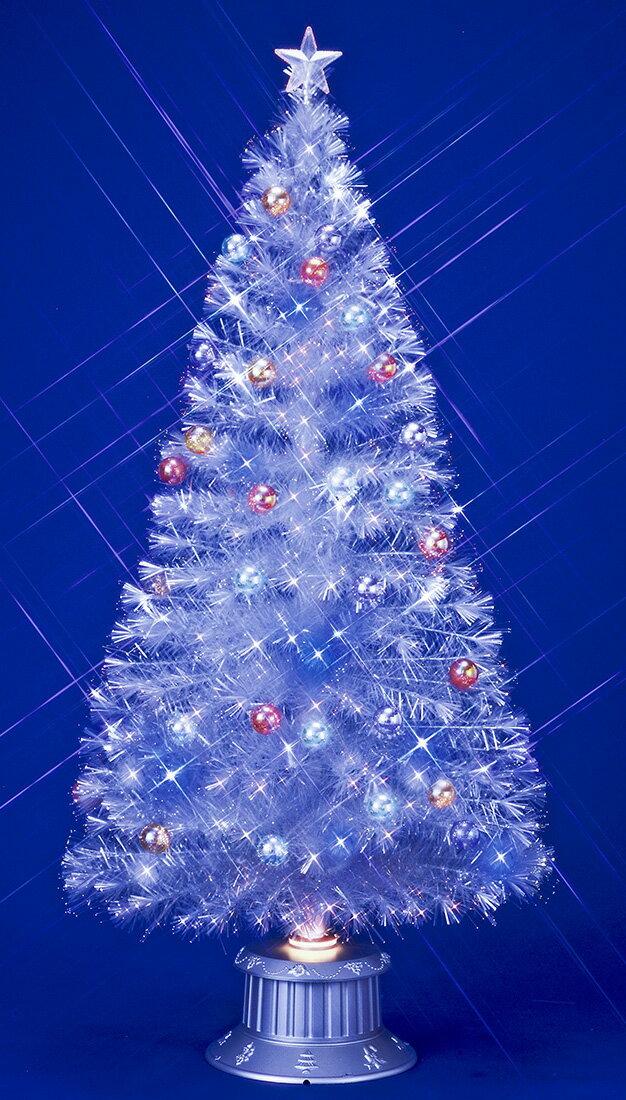 【ファイバーツリー】210cmファンタジーホワイト&ブルーLEDホワイトギャザーチップファイバーツリー