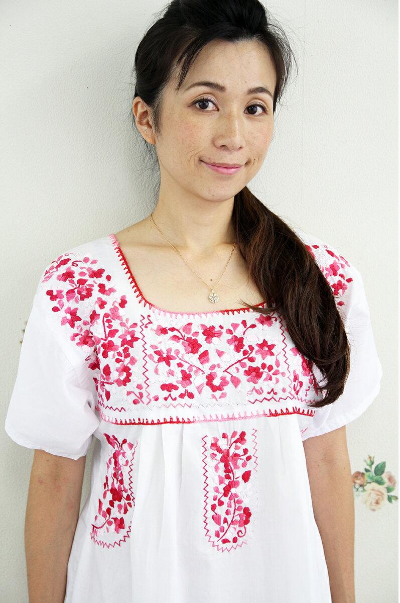 ワンピース・ロング・刺繍 メキシコ刺繍ホワイト・ピンクギフト ラッピング対応可 母の日