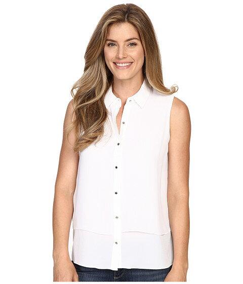 ノンスリーブ ellen tracy sleeveless double layer shirt レディースファッション トップス