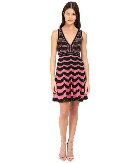 M Missoni Ripple Stitch V-Neck Dress