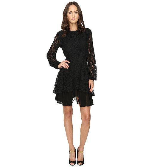 ドレス ワンピース ジャスト スリーブ レース ロング スカート レオ just cavalli leo lace long sleeve dress tiered skirt レディースファッション