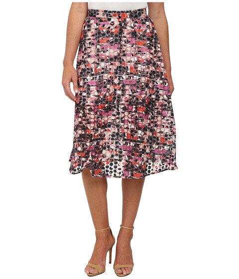 Sam Edelman Stripe Floral Embroidered Organza Midi Skirt