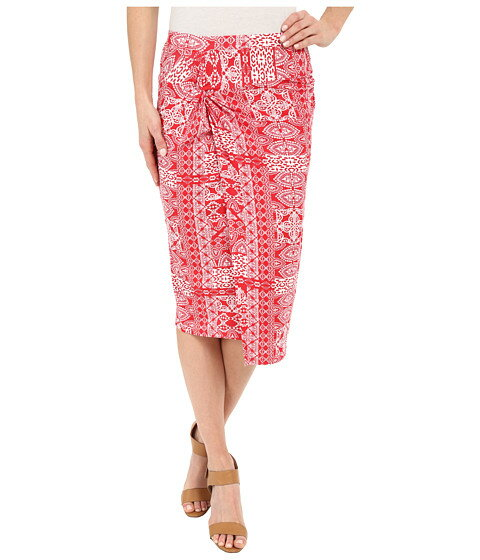 Mod-o-doc Patchwork Tiles Printed Rayon Spandex Jersey Knotted Wrap Skirt