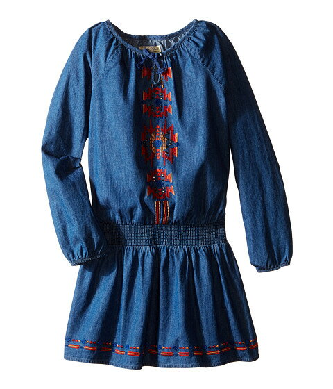 Lucky Brand Kids Chambray Peasant Dress with Embroidery (Little Kids)