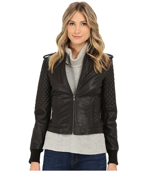 Levi\'s® Smooth Lamb Leather Asym Moto w/ Quilting Details
