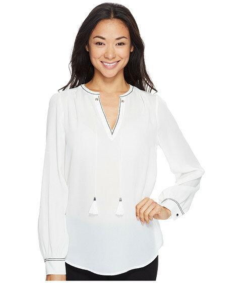 ivanka trump long sleeve スリーブ woven ウーブン blouse with tassles レディースファッション トップス