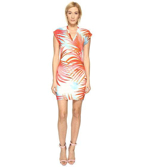 スリーブ ショーツ ハーフパンツ ドレス just cavalli palm print fitted short sleeve dress