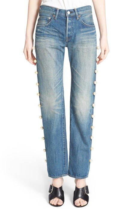 imitation pearl embellished jeans パール パンツ レディースファッション ボトムス