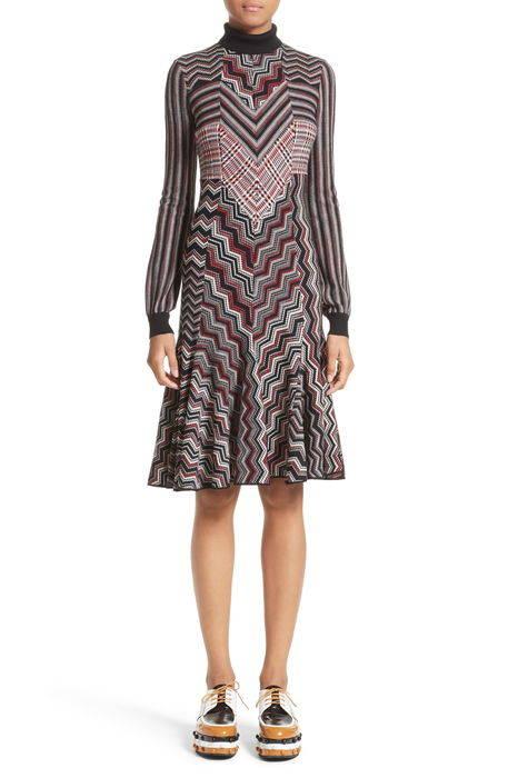patchwork wool blend knit dress パッチワーク ウール ブレンド ニット ドレス ワンピース レディースファッション