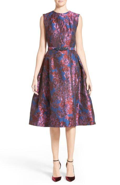 badgley mischka couture floral jacquard fit flare dress クチュール フローラル ジャガード フィット & フレアー ドレス ワンピース レディースファッション