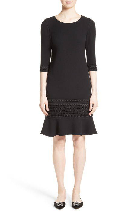 pompom trim double face crepe dress ポンポン ダブル フェイス クレープ ドレス ワンピース レディースファッション