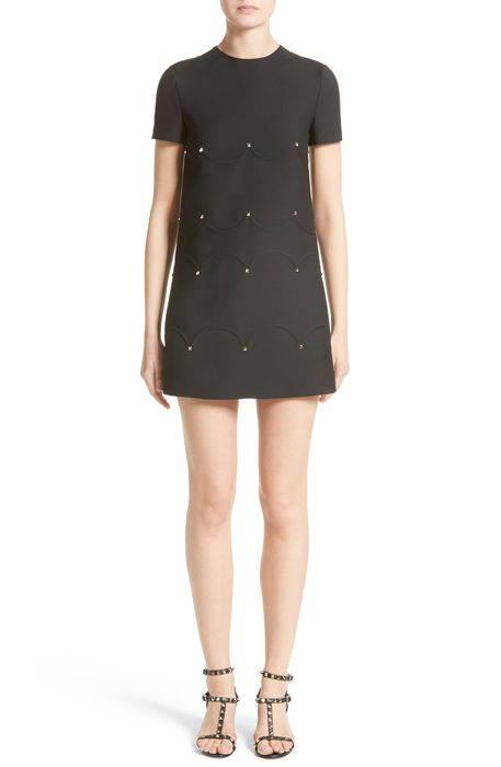 studded scallop dress スタッズ ドレス ワンピース レディースファッション