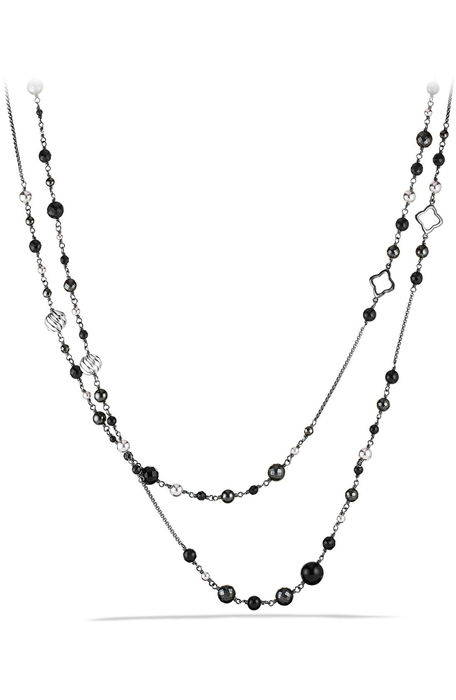 dy elements chain necklace with black onyx and hematine ' チェイン ネックレス 黒 ブラック オニキス メンズジュエリー ペンダント ジュエリー アクセサリー