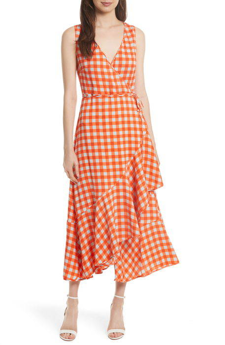check ruffle hem wrap dress チェック ラッフル ヘム ラップ ドレス ワンピース レディースファッション