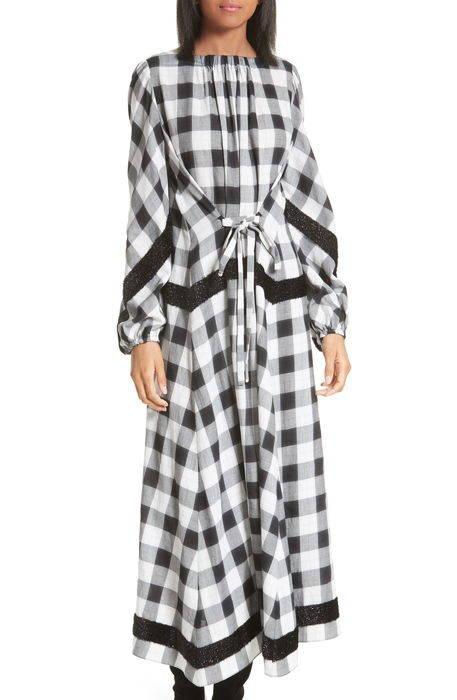 boucl trim plaid maxi dress ? マキシ ドレス ワンピース レディースファッション