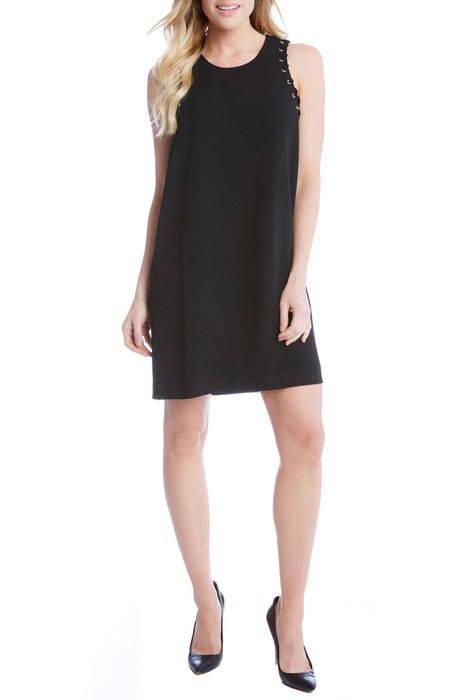grommet detail crepe shift dress ディテール クレープ シフト ドレス ワンピース レディースファッション