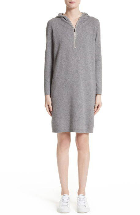 wool silk cashmere hooded dress , シルク & カシミヤ ドレス ワンピース レディースファッション