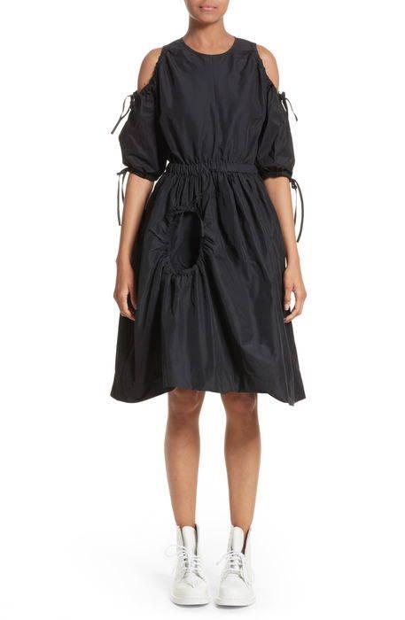 cold shoulder drawstring dress コールド ショルダー ドレス ワンピース レディースファッション