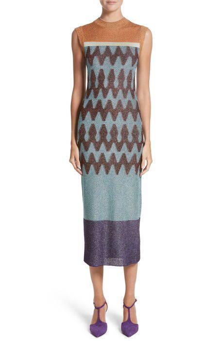 colorblock metallic knit midi dress カラーブロック メタリック ニット ミディ ドレス ワンピース レディースファッション