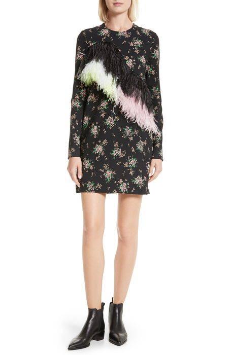 ostrich feather trim floral print dress フェザー フローラル プリント ドレス ワンピース レディースファッション