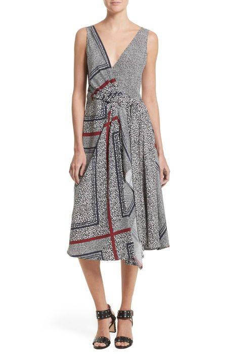 print pleated silk wrap dress プリント プリーツ シルク ラップ ドレス ワンピース レディースファッション