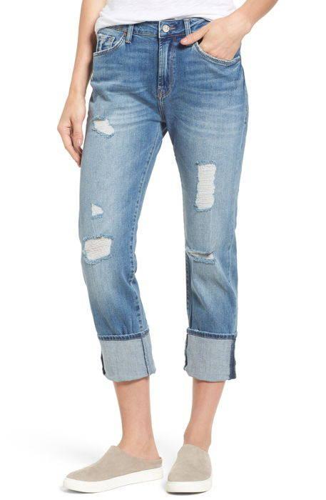 brenda distressed roll cuff boyfriend jeans ブレンダ ロール カフ ボーイフレンド パンツ ボトムス レディースファッション
