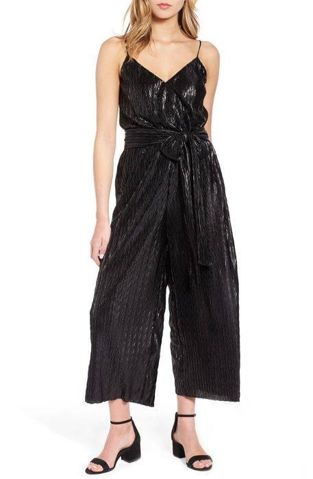 tie waist pliss jumpsuit ネクタイ ウェスト ? ジャンプスーツ サロペット オールインワン レディースファッション