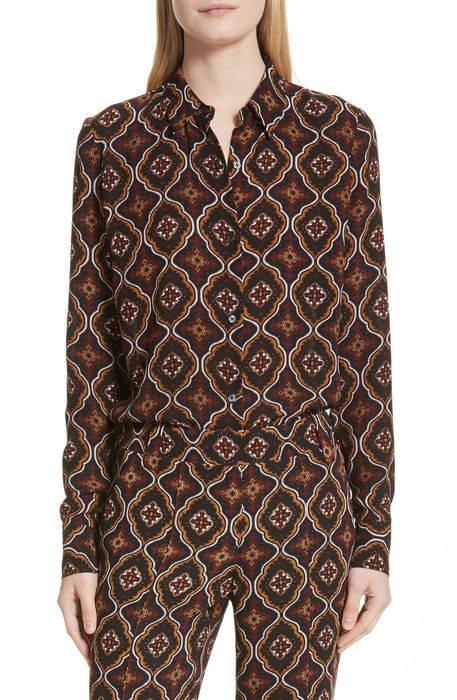 aubrey print silk top プリント シルク トップ ブラウス トップス レディースファッション シャツ