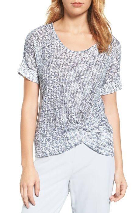 twist front print top ツイスト フロント プリント トップ レディースファッション カットソー tシャツ トップス