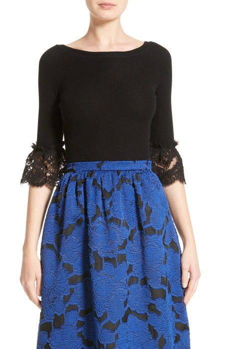 lace sleeve wool sweater レース スリーブ ウール セーター ニット レディースファッション トップス