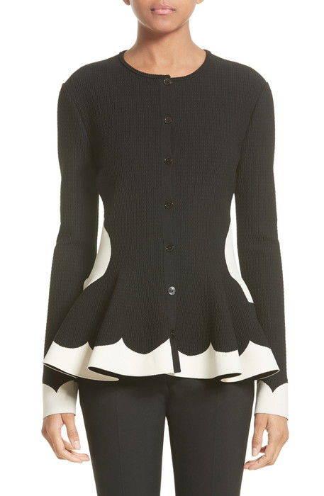 bicolor contrast jacquard peplum cardigan コントラスト ジャガード カーディガン レディースファッション セーター トップス ニット