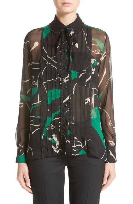 panther print silk chiffon blouse パンサー プリント シルク シフォン ブラウス レディースファッション シャツ トップス