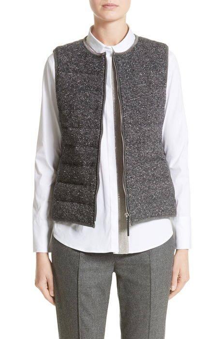 pebbled knit front quilted down vest ニット フロント ダウン ベスト レディースファッション トップス