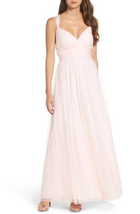 deep vneck chiffon tulle gown ディープ ブイネック シフォン & チュール ガウン ドレス レディースファッション