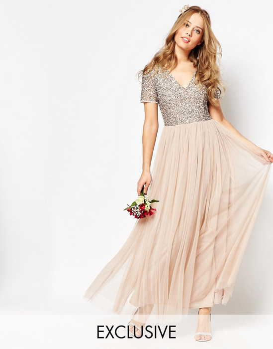 【送料無料】Maya V Neck Maxi Tulle Dress ドレス ワンピース with Tonal Delicate Sequins