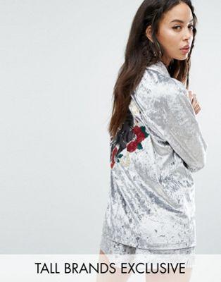 トール 特大 ロンドン パンサー シャツ ベルベット jaded london tall oversized velvet shirt with panther embroidery coord レディースファッション ブラウス トップス