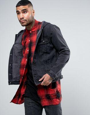 エイソス asos イン 黒 ブラック デニム ジャケット hooded denim jacket in black アウター メンズファッション コート