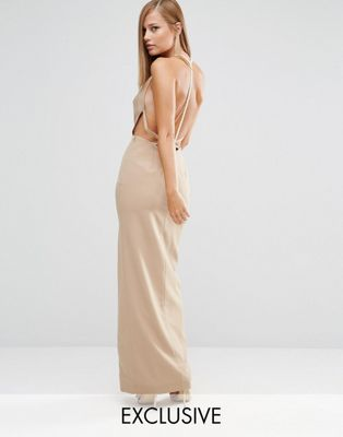 fame and partners sleek maxi dress with faux pearl back フェイム ドレス ワンピース バック マキシ パール パートナー レディースファッション