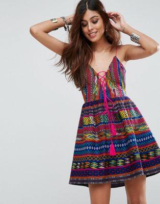 エイソス asos ドレス ジャガード サン ストラップ ワンピース jacquard plunge strappy sun dress レディースファッション