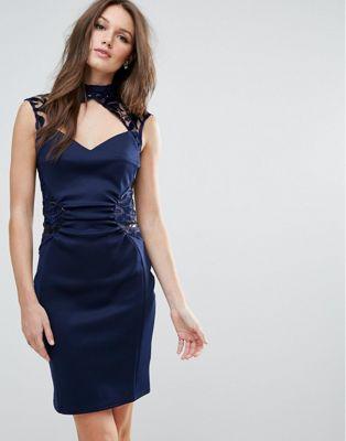 ディテール レース ドレス ワンピース ペンシル lipsy pencil dress with lace detail レディースファッション