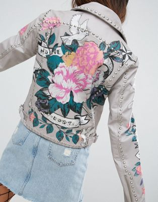 ASOS エイソス Premium Leather Jacket ジャケット with Tattoo Rose Print and Studs