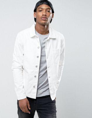 白 イン ルック ジャケット ニュー デニム ワーカー ポケット ホワイト new look denim worker jacket with pockets in white アウター コート メンズファッション