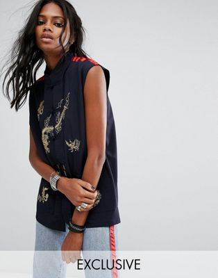 Reclaimed Vintage ヴィンテージ Inspired Festival Sleeveless Shirt シャツ With Embroidery And Trim