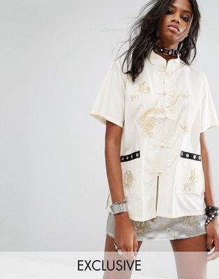 Reclaimed Vintage ヴィンテージ Inspired Festival Embroidered Shirt シャツ With Eyelet Trim
