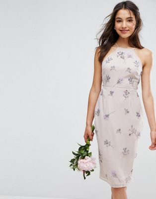 ASOS エイソス WEDDING Embellished Drape Back Midi Dress ドレス ワンピース