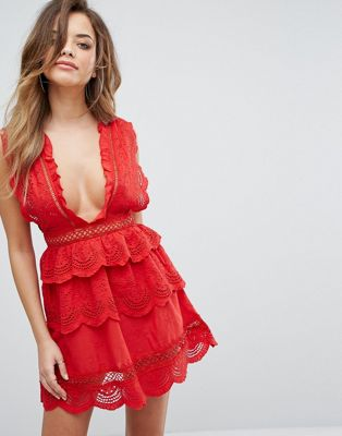 PrettyLittleThing Lace Plunge Skater Dress ドレス ワンピース